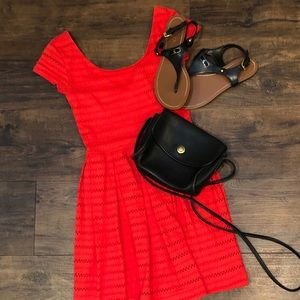 So Orange Lace Fit and Flare Dress